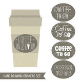 Coffee stickers set. Coffee cup, takeaway coffee cup, round stickers. Coffee stickers set. Coffee cup, takeaway coffee cup, round stickers Stock Photo