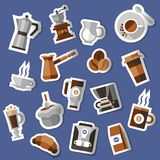 Coffee stickers set. With croissant pack cream pot turk isolated vector illustration Stock Photos