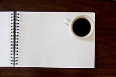 Coffee. Still life of coffee on a blank notebook stock photos