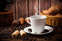 Coffee still life with cup of coffee Royalty Free Stock Image