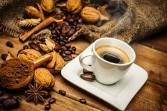 Coffee still-life. Coffee theme still-life on wooden table stock photography