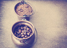 Coffee still life. Toned colors vintage photo Royalty Free Stock Photos