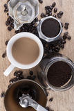 Coffee still life, Top view shot Royalty Free Stock Photo