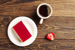 Coffee and strawberry cake Stock Image