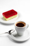 Coffee and strawberry cake Stock Photography