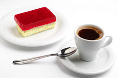 Coffee and strawberry cake Stock Photo