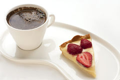 Coffee and Strawberry tart Stock Photography