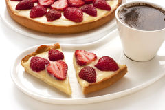 Coffee and Strawberry tart Royalty Free Stock Photos