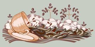 Coffee stream illustration. Royalty Free Stock Photos