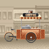 Coffee Street Cart Illustration. Coffee street cart with houses tent and road in town realistic vector illustration Royalty Free Stock Photography
