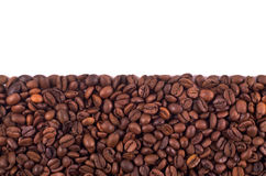 Coffee Stripe. Coffee beans stripe isolated in white background, with copyspace Stock Photography
