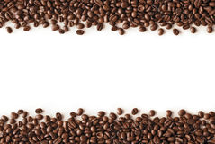 Coffee Stripes. Coffee beans stripes isolated in white background, with copyspace Royalty Free Stock Photos