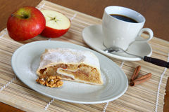 Coffee and strudel Stock Images