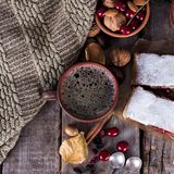 Strudel with a cherry. Cherry pie. Coffee and Strudel with a cherry. Cherry pie. Food on the nature.  Pie, strudel with berries  With autumn decor. Cozy food Stock Photography