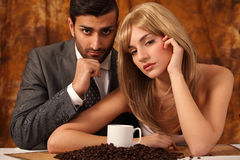 Coffee style couple Stock Photos