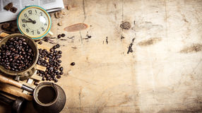 Coffee style. Morning coffee with fresh newspaper. Royalty Free Stock Images