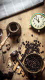 Coffee style. Morning coffee with fresh newspaper. Royalty Free Stock Photography