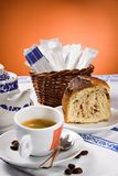 Coffee, sugar and cake. Stock Photography