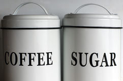 Coffee and sugar containers Royalty Free Stock Photography