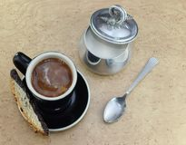 Coffee with sugar and cream Royalty Free Stock Photography
