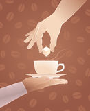 Coffee With Sugar. Illustration on the subject of `Coffee House Service Stock Images