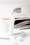 Coffee, sugar and newspapers Royalty Free Stock Images