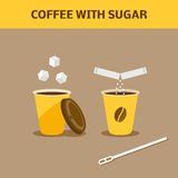 Coffee with sugar. Paper cup of coffee with sugar. Cartoon  illustration Stock Photos