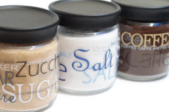 Coffee, sugar and salt jars Royalty Free Stock Photo