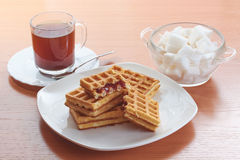 Coffee sugar and wafers Stock Images