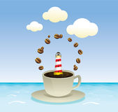 Coffee with summer sea  graphic Royalty Free Stock Photo