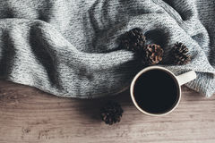Coffee and sweater top view Stock Photography