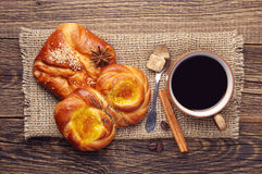 Coffee and sweet buns Stock Image