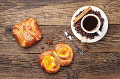 Coffee and sweet buns Stock Images