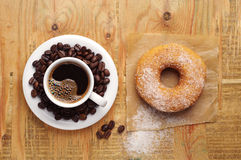 Coffee and sweet donut Royalty Free Stock Images