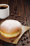 Coffee and sweet doughnut Stock Photography