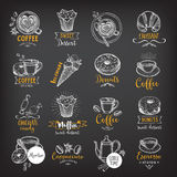 Coffee and sweet menu restaurant badges, dessert menu. Stock Photo