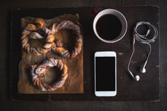 Coffee and sweet pretzels Royalty Free Stock Images