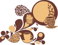 Coffee and sweets. Coffee and cakes background. Vector illustration Stock Photos