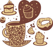 Coffee and sweets. In love with coffee and sweets. Vector illustration Stock Photos
