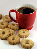 Coffee and sweets. Black coffee and biscuit royalty free stock image