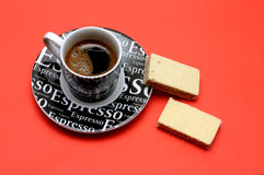 Coffee and sweets. Espresso coffee cup and two cookies stock photography