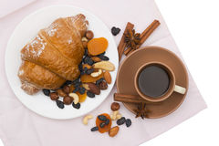 Coffee and sweets for breakfast Royalty Free Stock Images