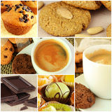 Coffee and sweets collage Royalty Free Stock Image