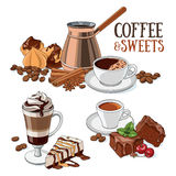 Coffee and sweets. Different types of coffee and sweet desserts. Set of vector illustrations royalty free illustration