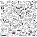 Coffee and sweets - doodles Royalty Free Stock Photos
