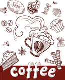 Coffee and sweets.Hand drawing stock photos