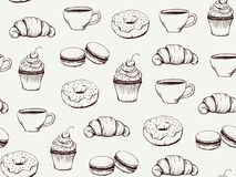 Coffee and sweets handdrawn pattern. Pastel grey cupcake Royalty Free Stock Photo