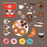 Coffee and sweets illustrations Royalty Free Stock Image