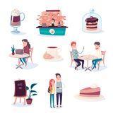 Coffee and sweets make people happier stock illustration