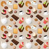 Coffee and sweets seamless background Royalty Free Stock Photo